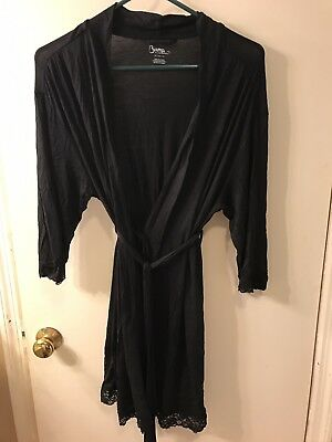 New Bump In The Night Motherhood Maternity Nursing Robe Black Medium M Pockets