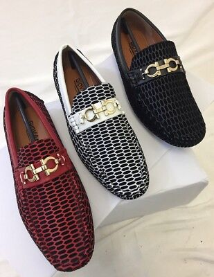 Men Giovanni Dress Shoes Loafer Casual Style Slip-On White Red Black M788-54