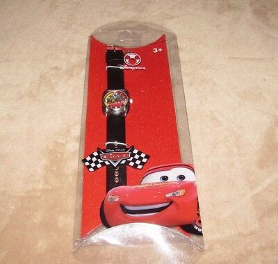 CARS Lightning McQueen Disney Store Watch Black Leather Strap New FREE SHIP