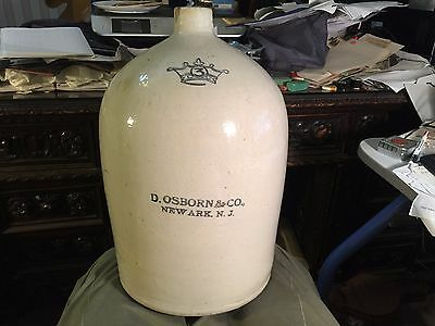 3 gallon Antique blue stenciled stoneware jug D. Osborn & Co Newark NJ lip chip