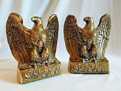 Vintage Pair of Cast Metal Eagle Bookends