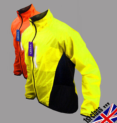 Cycling Jacket Highly Visibile Hi Viz Showerproof Windproof Breathable Riding