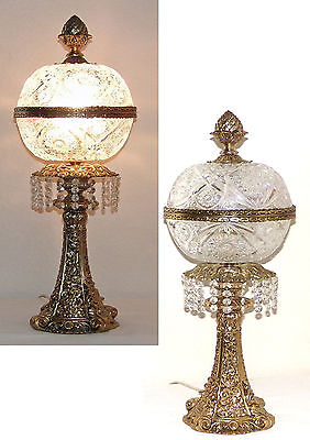 Antique Art Nouveau Cut Crystal Lamp 24KT Gold over Brass Vintage Lamps Lighting