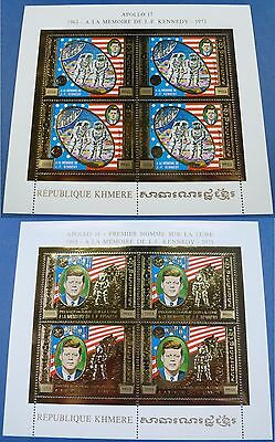 Cambodia Kambodscha 1974 Kennedy Apollo Space Raumfahrt Gold 386-387 A KB MNH