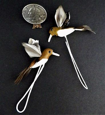 Hummingbirds Spun Cotton w/ Feathers 2 VTG CRAFT ITEMS ORNAMENTS PACKAGE TRIMS