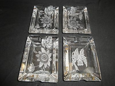 Lovely Set of Four Etched Glass Ashtrays