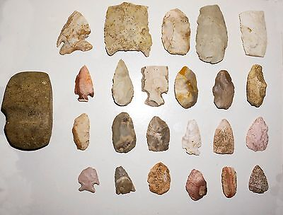 Native American Indian Stone Axe Head and Arrowhead Collection