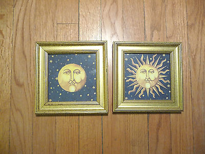 Pair of Small, Framed Sun and Moon Decorative Prints