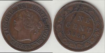 Scarce Variety 1859/8 Wide Canada Large Cent Vf-Xf