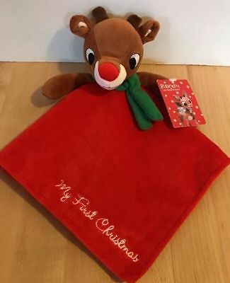 New Rudolph Red Nosed Reindeer Baby Security Blanket My First Christmas Lovey