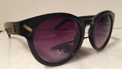9d30438110 V1969 ITALIA BY VERSACE ARIANNA WOMENS BLACK ROUND KEY HOLE Sunglasses NWT