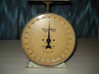 Vintage Way Rite 1920' Kitchen Scale 25 Lb By Oz. Lite Green W/face Shield Origi