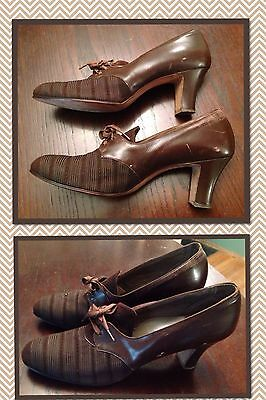 "Vintage Krippendorf 1940's Women's Shoes 2.5"" Heels Brown Lace Up Granny Oxford"