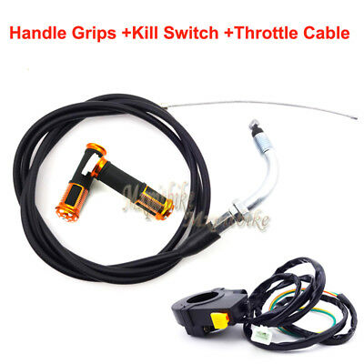 Gold Handle Grips Throttle Cable Kill Switch For Motorized Bicycle 50cc 60 80cc