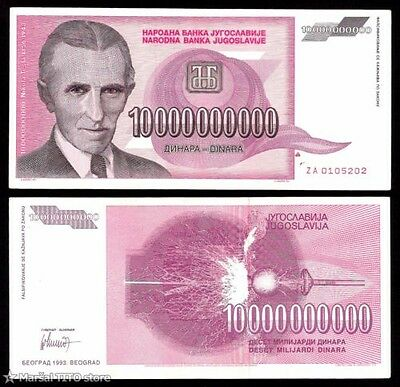 Nikola Tesla - Hyperinflation Yugoslavia - 10 Billion