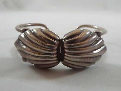 Vintage Sterling Silver Clam Shell Design Heavy Cuff Bracelet