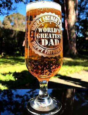Father's Day Engraved 12oz Footed Embassy Beer Glass - Choose Your Design