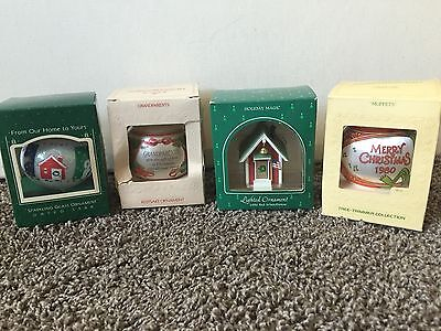 Lot of 4 Hallmark ORNAMENT Keepsake Glass Satin Lighted School House Grandparent