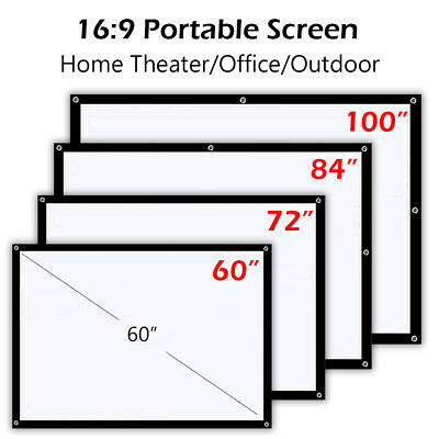 16:9 Projector Screen Home Theater Office Outdoor Projection 60"