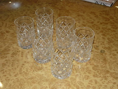 Set of 6 Tumbler Gin Whiskey Spirit Glass ~ Vintage 50s 60s Cut Crystal Style