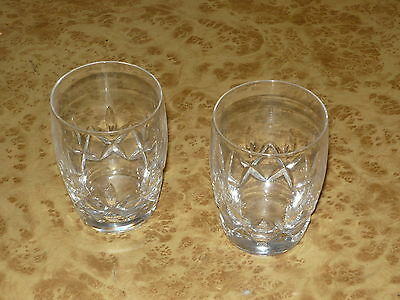 Pair of Gin Whiskey Spirit Tumbler Vintage 50s 60s Glass Cut Crystal Style
