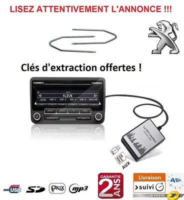 Adaptateur Usb Sd Aux Mp3 Autoradio Peugeot 1007 Boxer Bipper Expert Partner