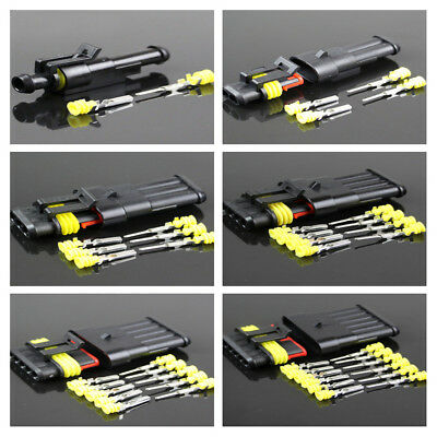 5 Kits 1-6Pin Way Sealed Waterproof Electrical Wire Connector Plug Car Auto Set/