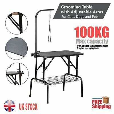 Black Portable Foldable Pet Dog Cat Metal Grooming Table Adjustable Arm Non Slip