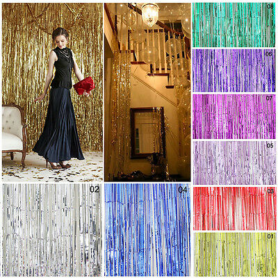 Shimmer Foil Glitter Tinsel Metallic Backdrop Curtain Window Wedding Party Decor