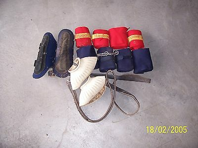 Assorted Old Gear - bandages, boots, stirrup leathers