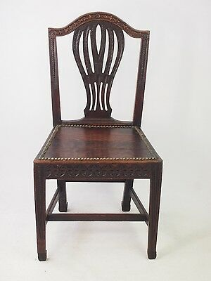 Antique Oak Hall Chair Carved with Cats - Victorian Georgian Side Desk Chair