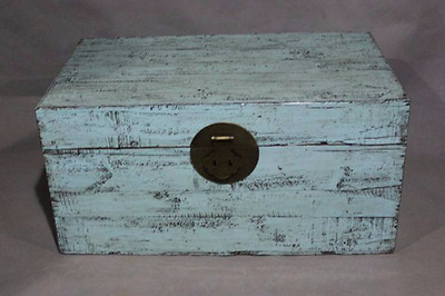 Chest Trunk Chinese Furniture Coffee Table Storage Light-Blue Oriental Asian