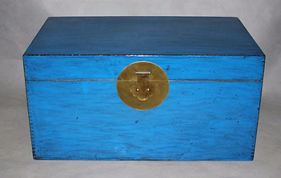Chest Trunk Chinese Furniture Coffee Table Storage Glossy Blue Oriental Asian