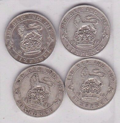 Four Silver Sixpences Dated 1912/1914/1918 & 1919 In A Used Condition