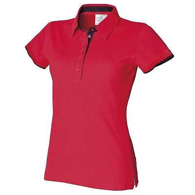 Front Row Women's Ladies Fitted Pique Polo Shirt Red with Navy Contrast FR201