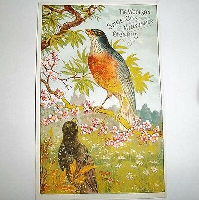 Rare Antique Victorian Lion Coffee Woolson Spice Midsummer Greeting Trade Card