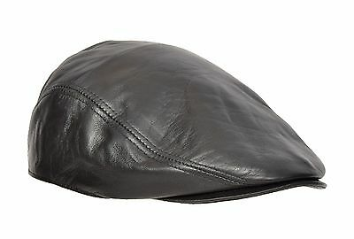 Mens Genuine BLACK Leather Flat Cap English Granddad Hat Baker-boy Classic Cap