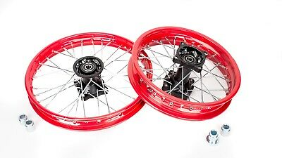 "12"" 14"" inch Wheel Set pit bike Stomp wpb 15mm Demon x Welsh Pit Bike RED"