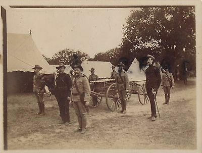 Photo Unknown Rifle Volunteer Battalion in Camp with Maxim Gun cart with limber
