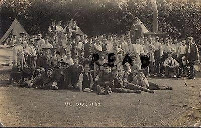 Soldier 6th Battalion ? East Surrey Regiment at ablutions during annual camp