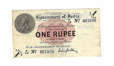 India George V One Rupee 1917 banknote currency RARE M.S.Gubbay signature