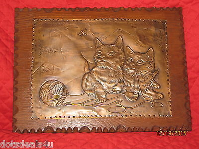 Vintage Copper Kittens Ball Of Yarn On Wooden Wall Plaque With  Decorative Edge