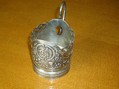 Antique Russian ornate silver plated glass cup holder