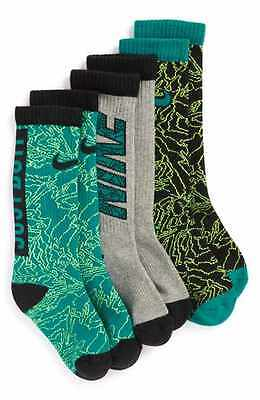 New Nike crew socks Toddler Kids size 9C-13C shoes rio teal 3 pack thick boys