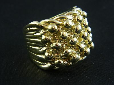9ct Gold New Hallmarked Mens Heavy Keeper Ring 27.7g, Saddle,Buckle, Knot