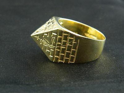9ct Gold New Hallmarked Mens Heavy Pyramid Ring 27.5g, Saddle,Buckle, Keeper