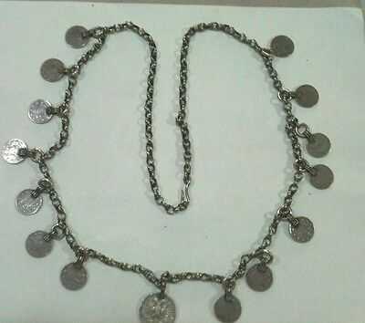 ANTIQUE OLD OTTOMAN SILVER NECKLACE WITH COINS-19-th CENTURY-FOLKLORE-HANDMADE