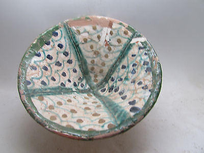 Beautiful antique Islamic terracotta bowl with glaze paints