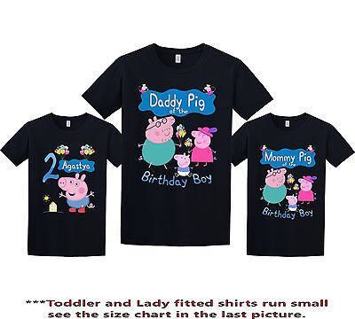 Peppa Pig Birthday Shirt custom personalized t-shirt add any NAME and AGE