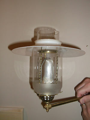 Electrified very early gas wall sconce with original milkglass shade & chimney